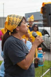 Carmen Cotto, a line worker, addresses a July 16 rally at AdvancePierre Foods in West Chester. Photo: Mike Brown, C4AD.