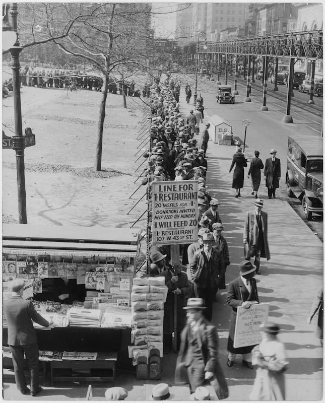 "Original caption to 1932 photograph reads: ""Depression bread line. 'Hunger Line,' Sixth Ave and 42nd Street, NY City."" Franklin D. Roosevelt Presidential Library & Museum."