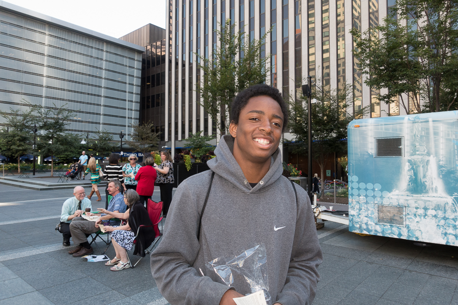Deioncray Kelly at Fountain Square to hear Pope Francis.