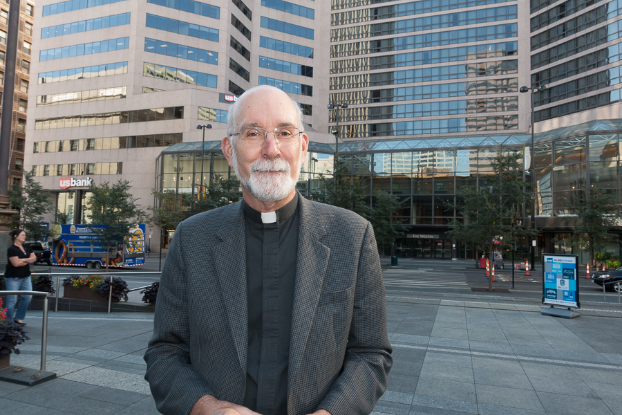 Rev. Len Wenke, Archdiocese of Cincinnati, at Fountain Square. Photo: Mike Brown, C4AD.