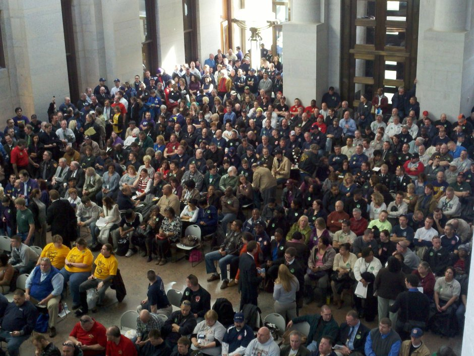 In February 2011, teachers, policemen, firefighters, and other public employees jammed the statehouse to hear testimony on right-to-work legislation. Photo from Facebook page, Stop Senate Bill 5 in Ohio.