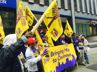 Janitors rally for good jobs, strong communities, and hope on Fifth Street in Cincinnati, October 9, 2014. (Photo courtesy of SEIU Local 1.)