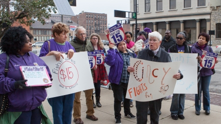 Fight for $15 rally in front of Cincinnati City Hall November 10, 2015.