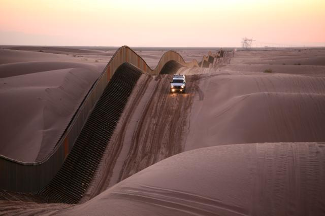 U.S.-Mexico border fence at Algodones Sand Dunes, California. Department of Homeland Security, United States Border Patrol. http://www.dhs.gov/xlibrary/photos/sand-dune-fence.jpg