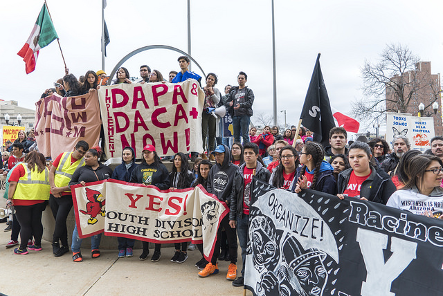 Advocates gather on May Day 2016 in Milwaukee to support implementation of DACA+ and DAPA. Photo by Joe Brusky use under a creative commons license, attribution-noncommerical.