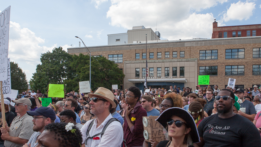 The BLMC rally forms next to the police memorial on Ezzard Charles Drive. Photo: Mike Brown, C4AD.