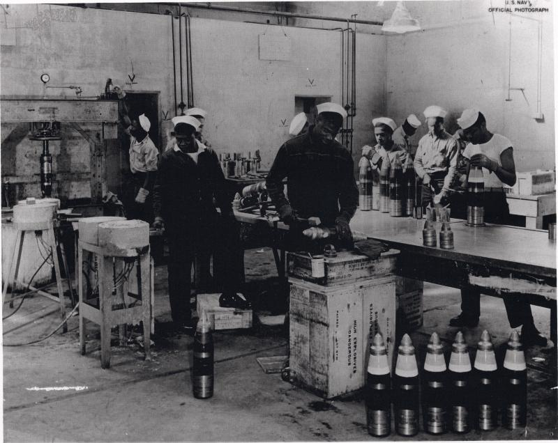 Black sailors at Port Chicago preparing munitions bound for the Pacific theater during World War II.
