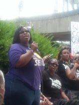 Latoyia Comb, SEIU Local 1, addresses the rally. Photo provided.