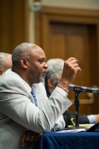 "Rev. Damon Lynch III participates on a panel about ""21st Century Policing: Lessons from Cincinnati"" in February 2016 hosted by the Ford School at the University of Michigan. Photo by Gerald R. Ford School of Public Policy, https://www.flickr.com/photos/fordschool/, subject to a creative commons license."