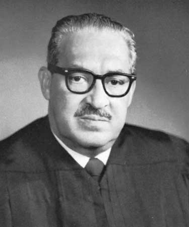 Thurgood Marshall, first African-American justice on the U.S. Supreme Court, serving from October 1967 until October 1991. Photo is in the public domain.