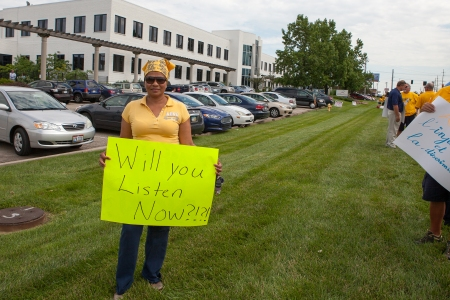 AdvancePierre Foods of Blue Ash is challenging NLRB findings of unfair labor practices against workers trying to unionize at its West Chester plant. Sonja Guzman, pictured above, was unlawfully disciplined according to the agency.  File photo, July 2015.