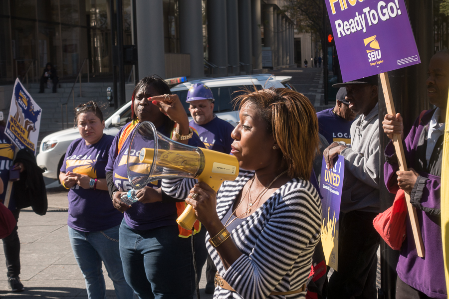 Councilwoman Yvette Simpson, candidate for Cincinnati mayor, addresses Saturday's SEIU rally.