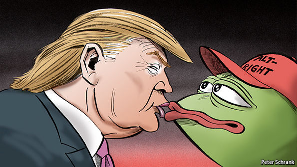 Donald Trump is depicted kissing Pepe the Frog, an internet meme appropriated by the alt-right. The Anti-Defamation League regards the meme as a symbol associated with racism, anti-Semitism, and bigotry.